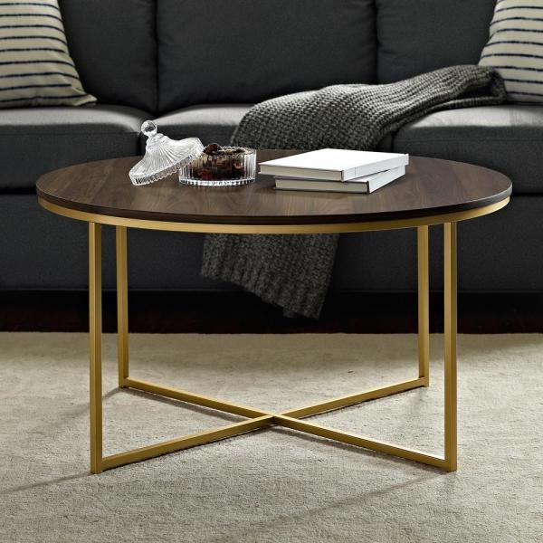 Dark Walnut Gold Mid Century Modern Coffee Table With X Base