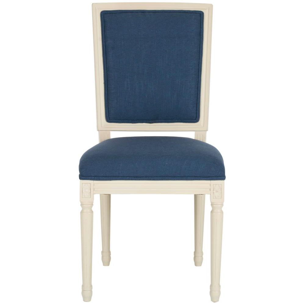 Safavieh Ashton Rect Viscose and Cotton Side Chair in Navy (Set of 2)