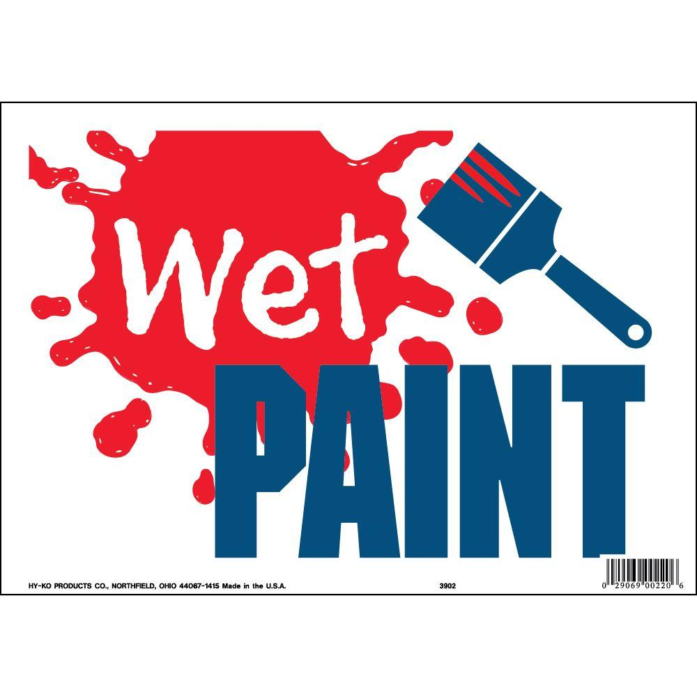 Hy Ko 9 In X 12 In Plastic Contemporary Wet Paint Sign
