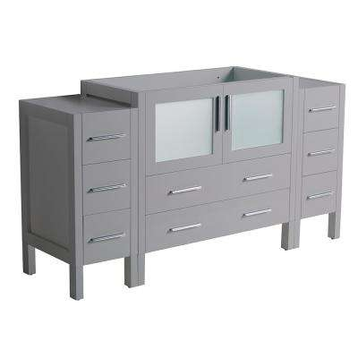 Torino 60 in. W Modern Bath Vanity Cabinet Only in Gray with Side Cabinets