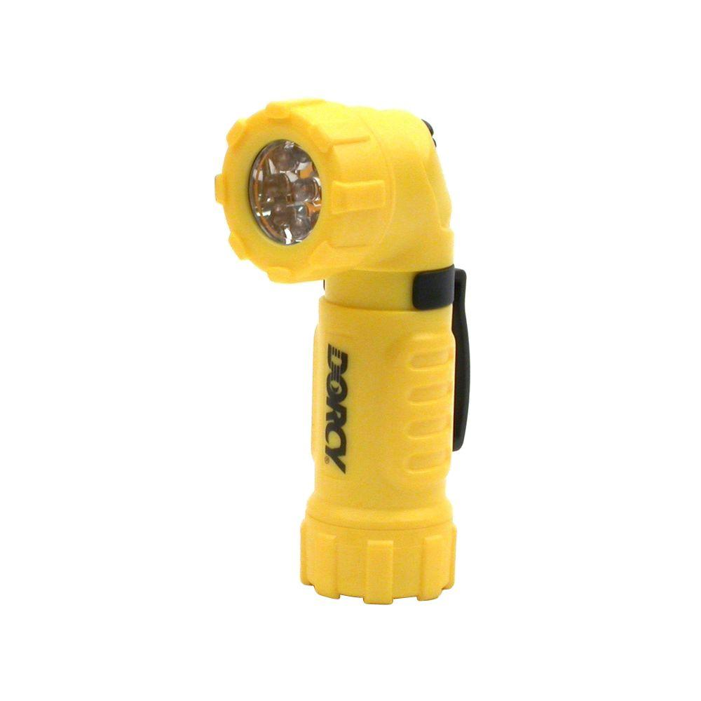 Dorcy 9 LED Angle-Head Flashlight, Assorted Colors - Red/ Yellow/ Green/ & Black (Cannot be Specified) The Dorcy 9 LED Angle-Head Flashlight features a unique angled design so it's great for shedding light on tough-to-reach places. It contains 9 LED bulbs for super bright light and is water resistant so it's perfect for use outdoors. Availability of colors or sizes varies based on your local store. Color: Assorted Colors - Red/ Yellow/ Green/ & Black (Cannot be Specified).