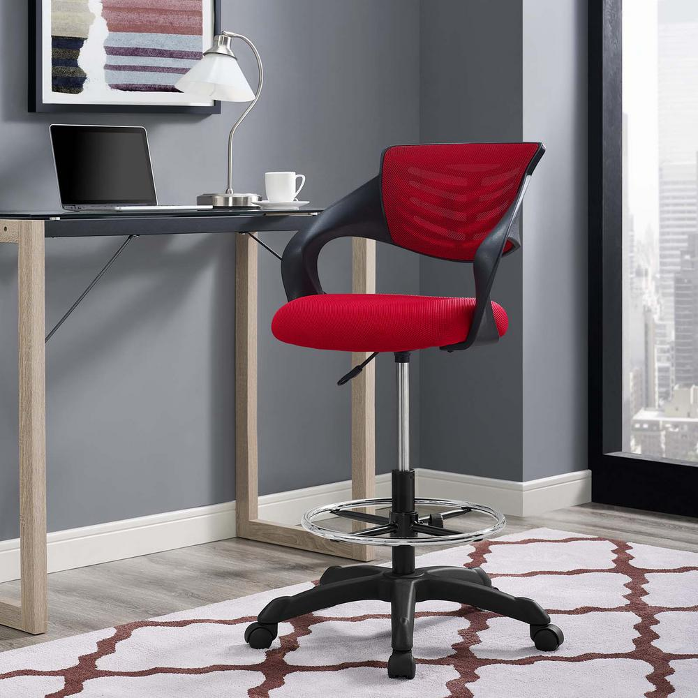 MODWAY Thrive Mesh Drafting Chair In Red