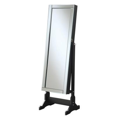 Black Jewelry Cheval Mirror with Interior Storage