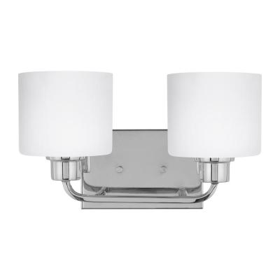 Canfield 14.25 in. 2-Light Chrome Vanity Light with Etched White Inside Glass Shades
