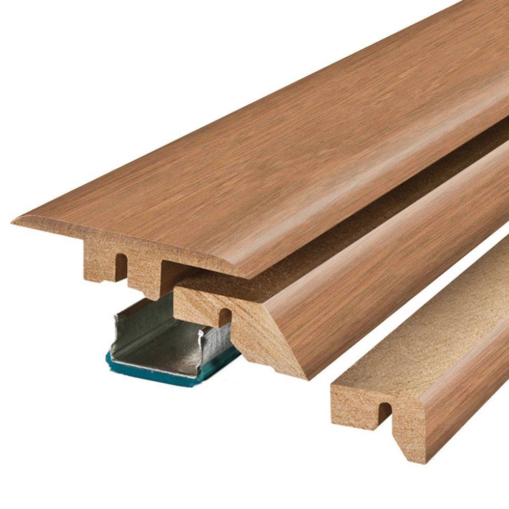 Marigold Oak/Haley Oak 3/4 in. Thick x 2-1/8 in. Wide x 78-3/4 in. Length Laminate 4-in-1 Molding