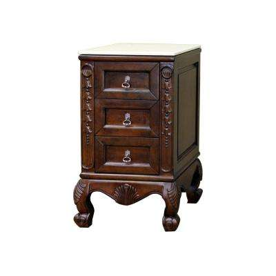 Arcata 19.5 in. W x 18.5 in. D x 33.5 in. H Freestanding Side Cabinet with Marble Top in Walnut Finish
