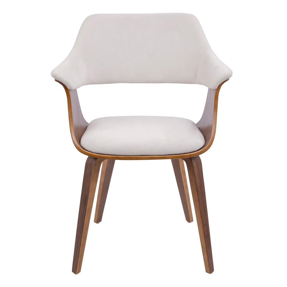 Lumisource Lucci Walnut And Cream Velvet Dining Chair