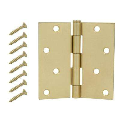 Satin Brass Square Corner Door Hinge