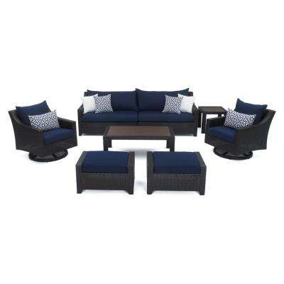 Deco 8-Piece Motion Wicker Patio Deep Seating Conversation Set with Sunbrella Navy Blue Cushions