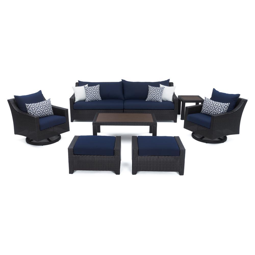 Deco 8-Piece Motion Wicker Patio Deep Seating Conversation Set with Sunbrella Navy Blue Cushions