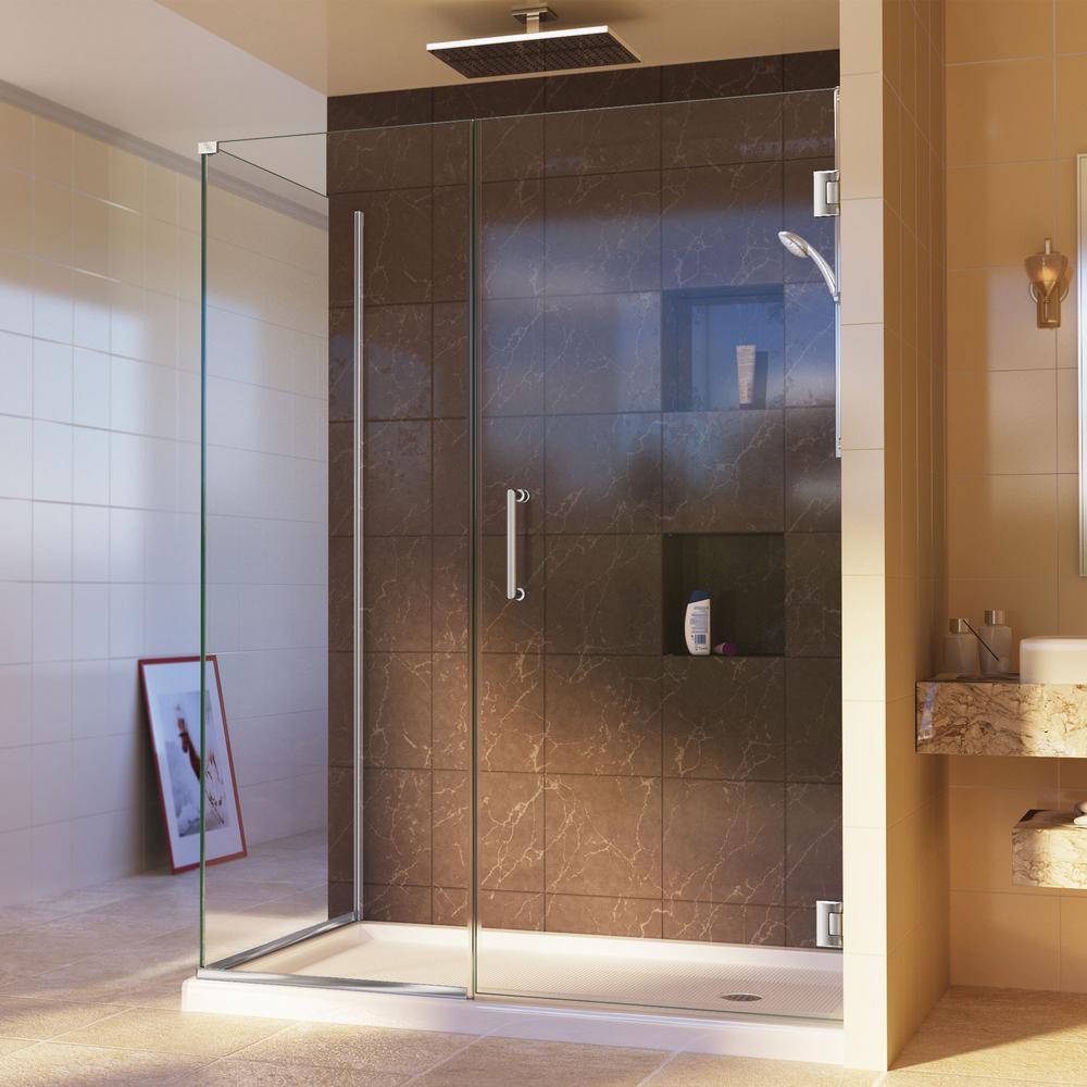 DreamLine Unidoor Plus 30-3/8 in. x 46 in. x 72 in. Semi-Frameless Hinged Corner Shower Enclosure in Chrome