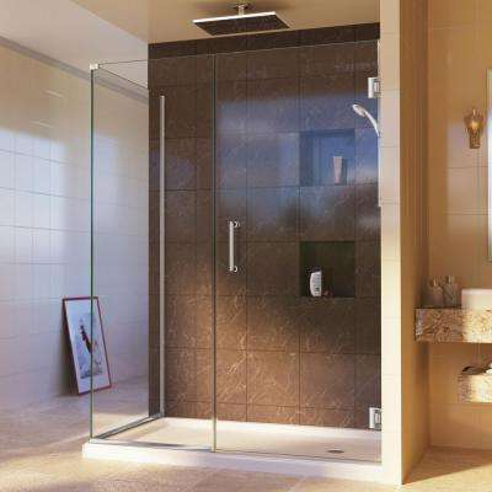 Unidoor Plus 34-3/8 in. x 46 in. x 72 in. Semi-Frameless Hinged Corner Shower Enclosure in Chrome