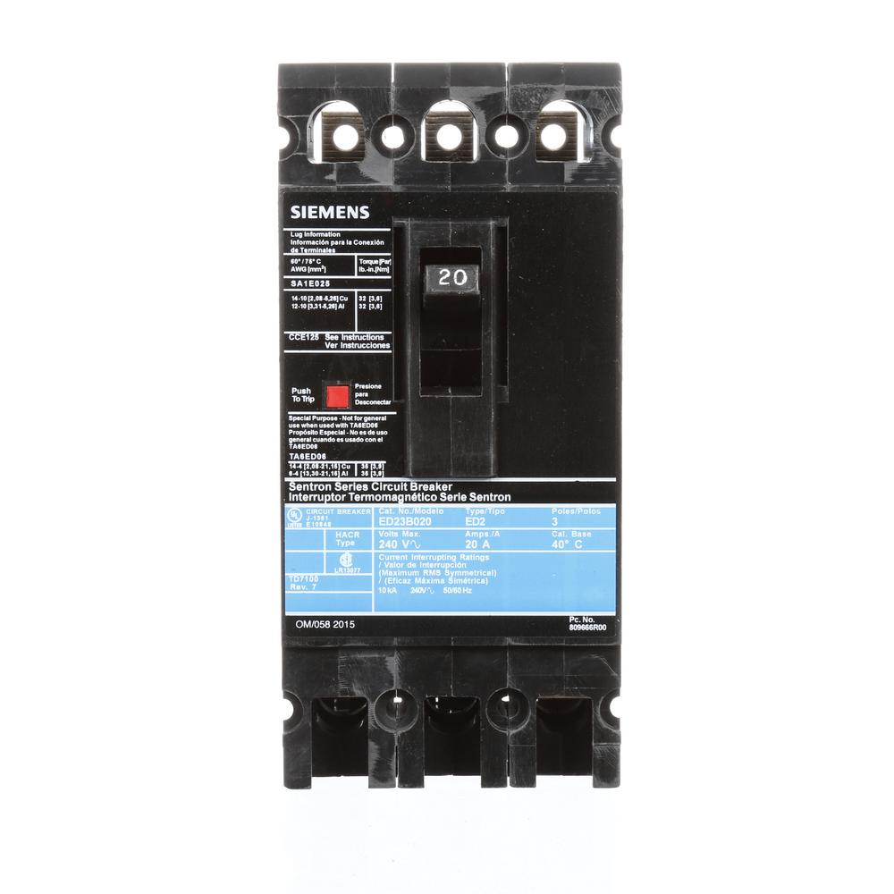 20 Amp 3-Pole Type ED 10 kA Circuit Breaker
