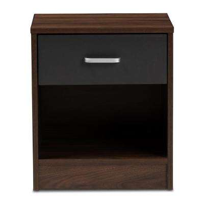Hansel 1-Drawer Walnut Brown and Dark Gray Nightstand
