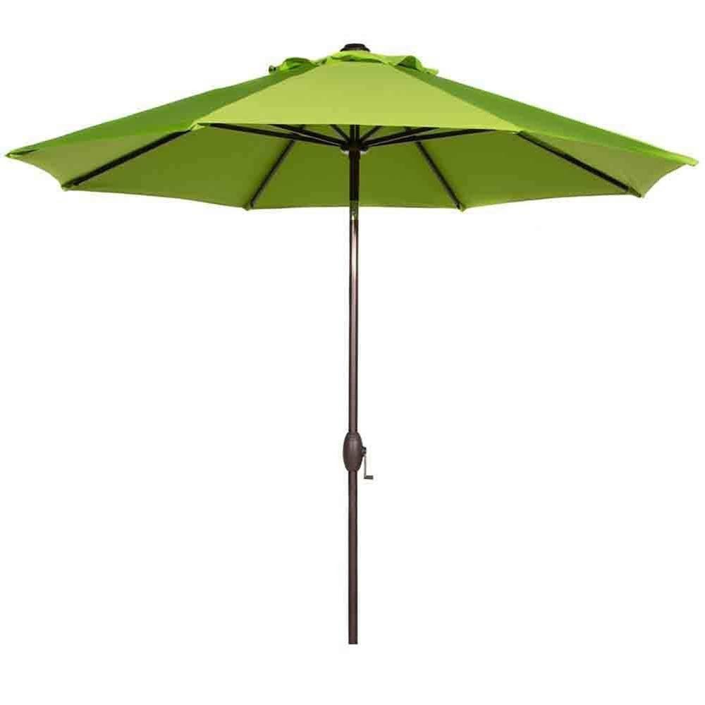 9 ft. Outdoor Market Umbrella with Auto Tilt and Crank Sunbrella Fabric Patio Umbrella in Lime Green
