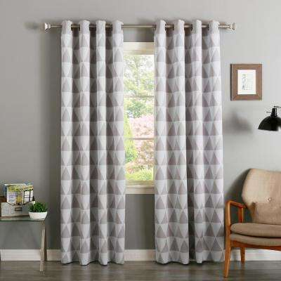84 in. L  Grey Triangle Room Darkening Curtain (2-Pack)