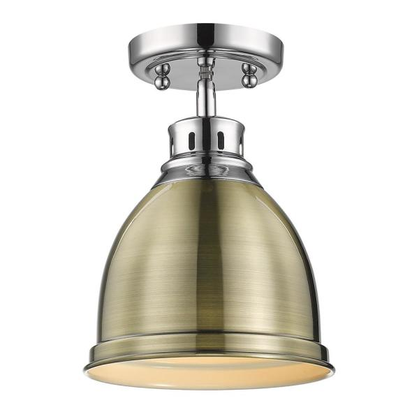 Duncan 9 in. 1-Light Chrome with Aged Brass Shade Flush Mount
