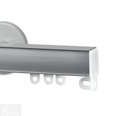 Nexgen 48 in. Non-Adjustable Single Traverse Window Curtain Rod Set in White with Brushed Aluminum Applique