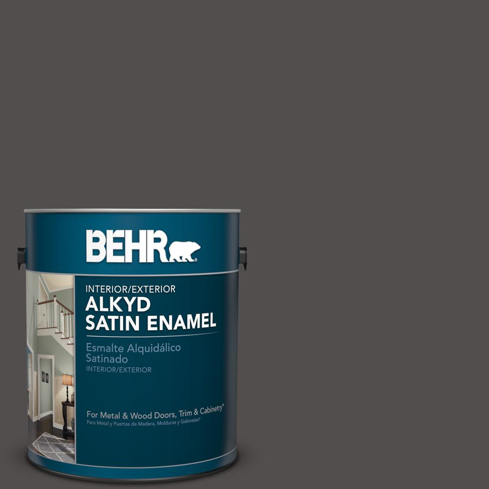 1 gal. #790F-7 Dark Cavern Satin Enamel Alkyd Interior/Exterior Paint