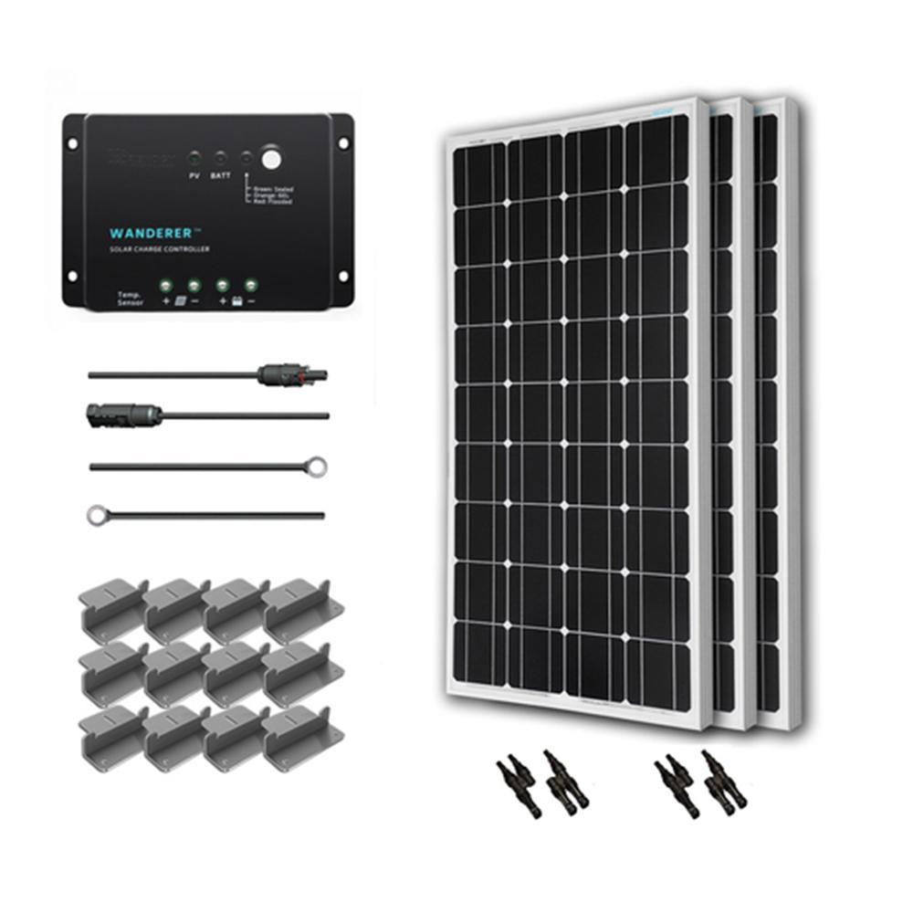 300-Watt 12-Volt Monocrystalline Solar Starter Kit for Off-Grid Solar System