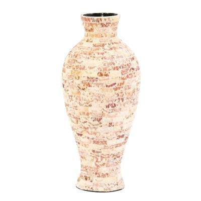 Tapered Ceramic Decorative Jar with Natural Seashells