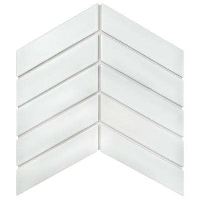 Metro Soho Chevron Matte White 1-3/4 in. x 7 in. Porcelain Floor and Wall Tile (1 sq. ft. / pack)