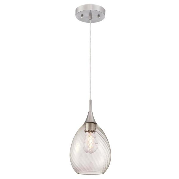 1-Light Brushed Nickel Mini Pendant with Clear Swirl Glass Shade