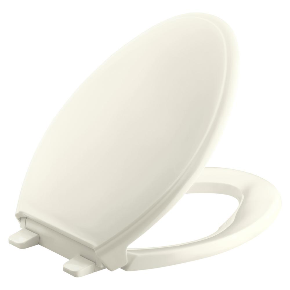 KOHLER Glenbury Quiet-Close Elongated Toilet Seat with Grip-tight Bumpers in Biscuit