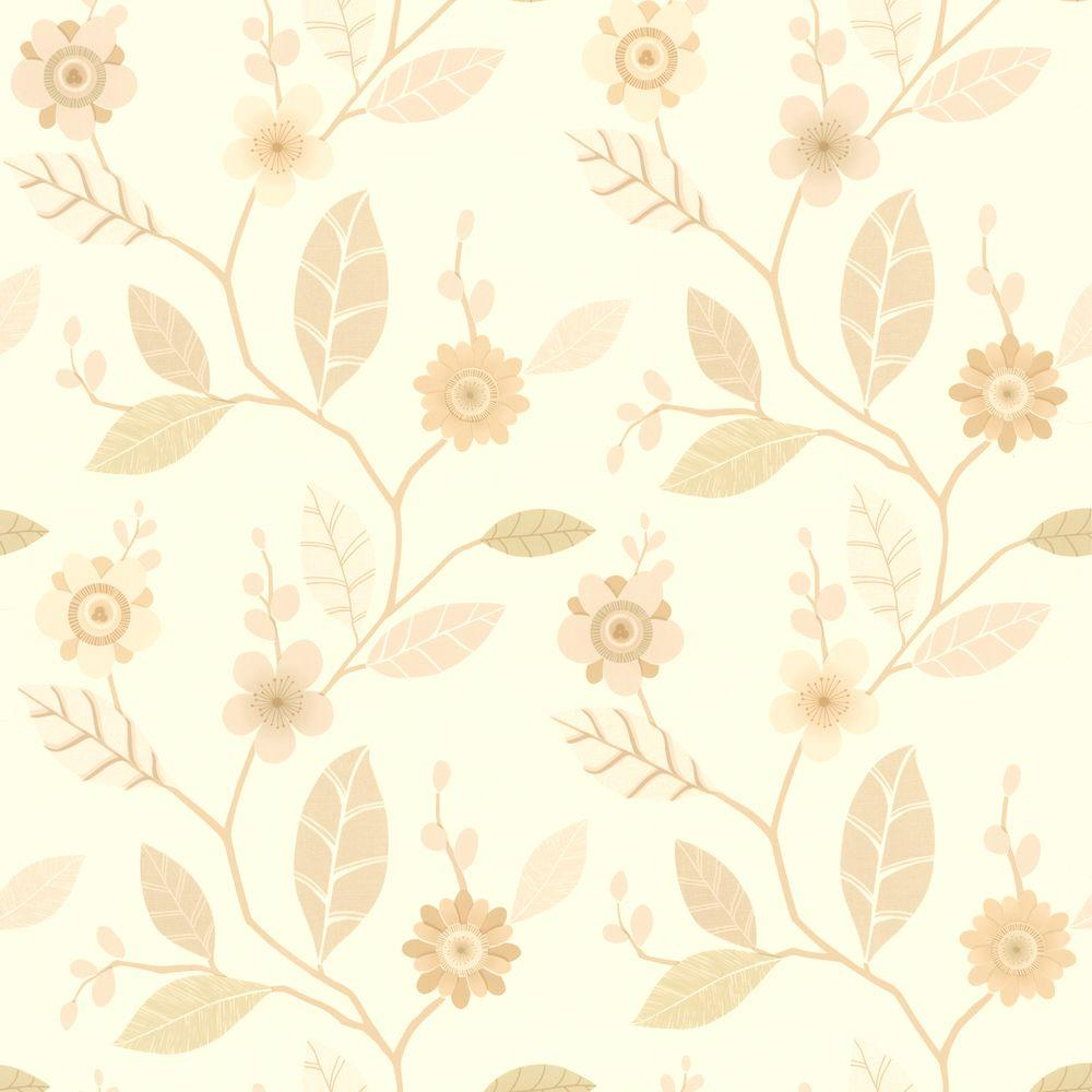 Claudia Beige Retro Blossom Wallpaper