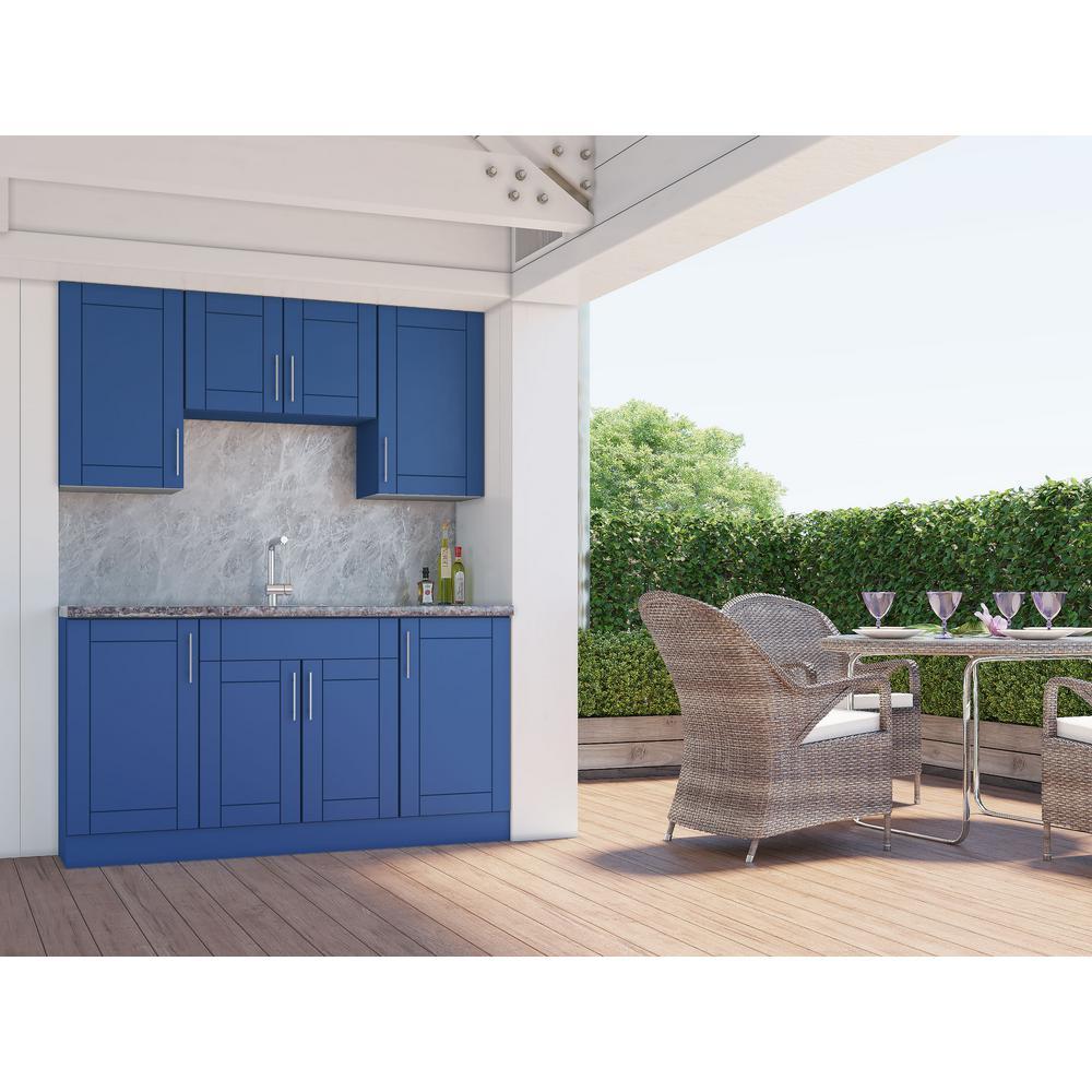 Sanibel Reef Blue 22-Piece 67.25 in. x 84 in. x 25 in. Outdoor Kitchen Cabinet Set