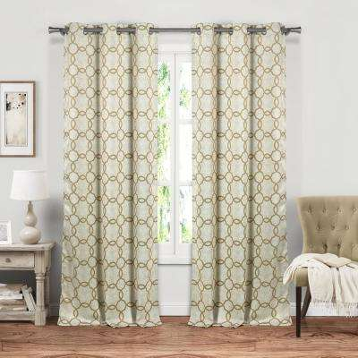 Angela 84 in. L x 37 in. W Polyester Blackout Curtain Panel in Wheat (2-Pack)