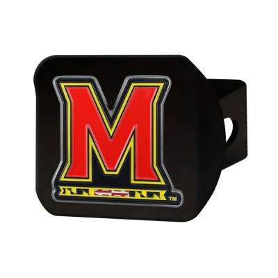 NCAA University of Maryland Color Emblem on Black Hitch Cover