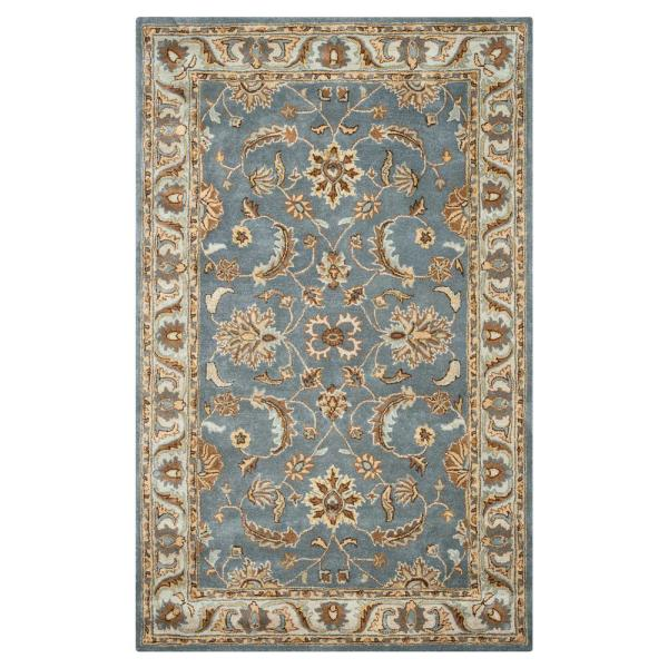 Sareena Blue 9 Ft X 12 Ft Floral Wool Area Rug Sense100346040912 The Home Depot