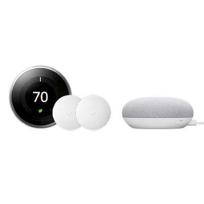 Nest Learning Thermostat 3rd Gen Stainless Steel and Nest Temperature Sensor (2-pack) with Google Home Mini Chalk