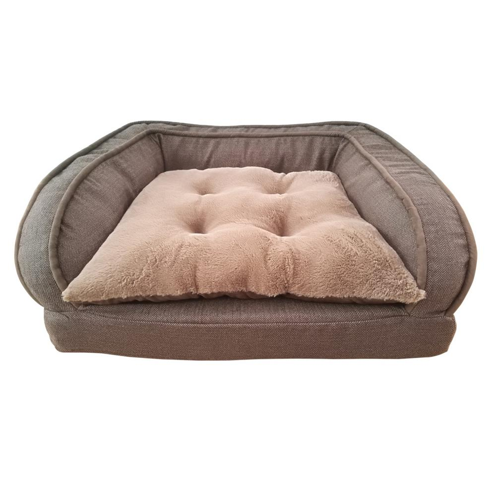 Large with Cushion Brown Orthopedic Dog Sofa Bed