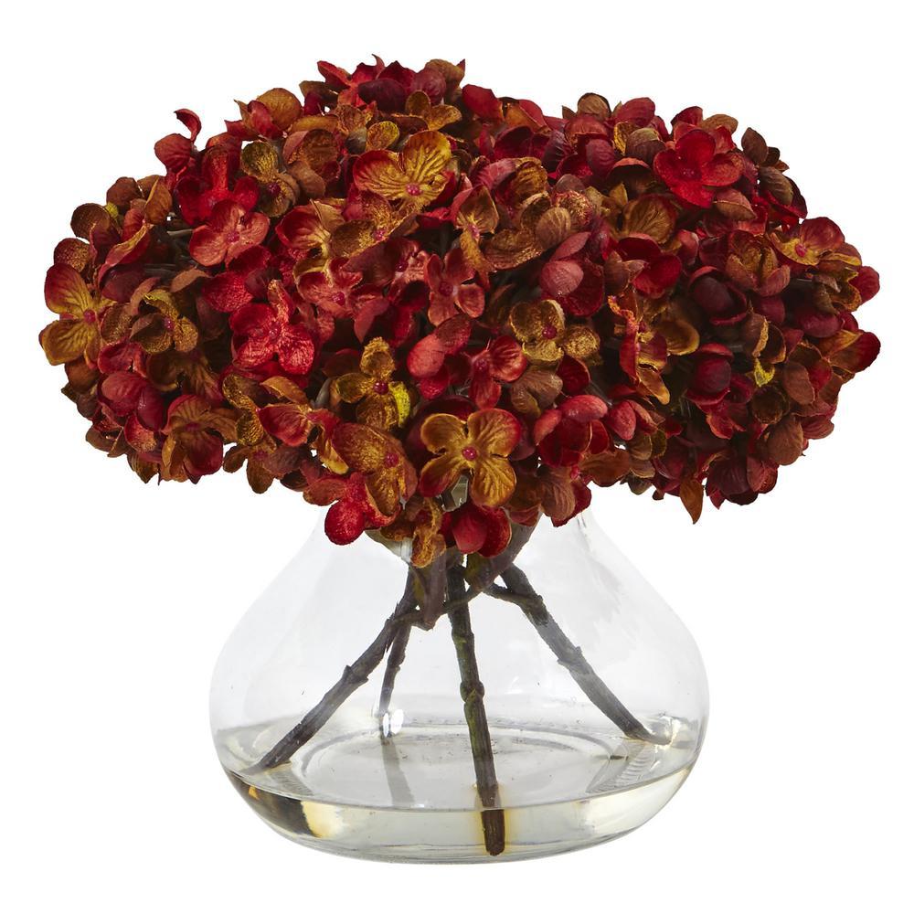 Nearly Natural Hydrangea with Vase Silk Flower Arrangement 1439-RU