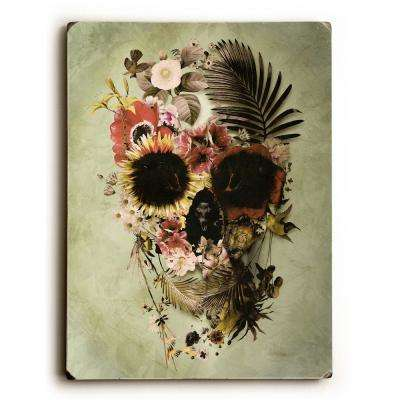 "9 in. x 12 in. ""Garden Skull Light"" by Ali Gulec Solid Wood Wall Art"