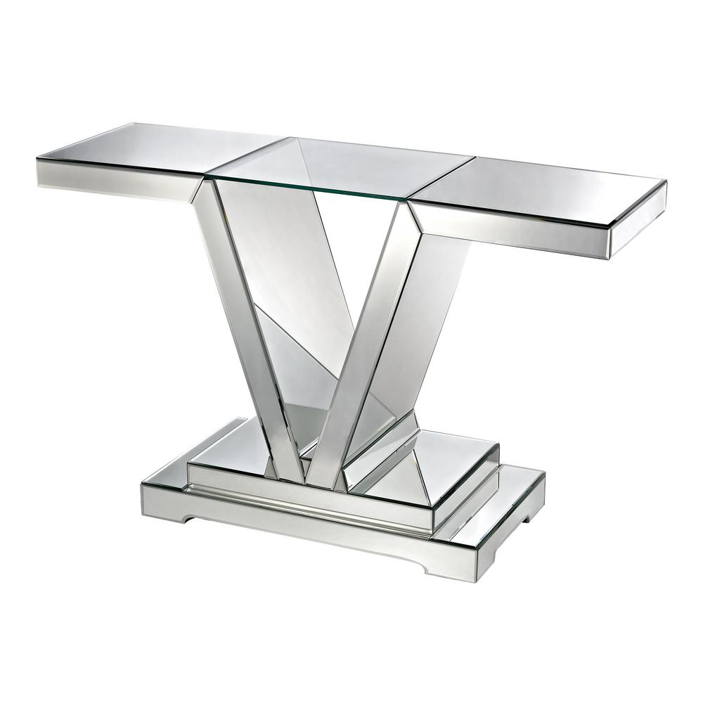 Titan Lighting Mirrored With Clear Glass Top Console Table Tn 892404