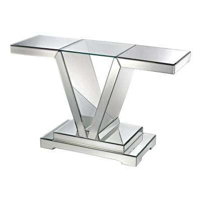 Mirrored with Clear Glass Top Console Table