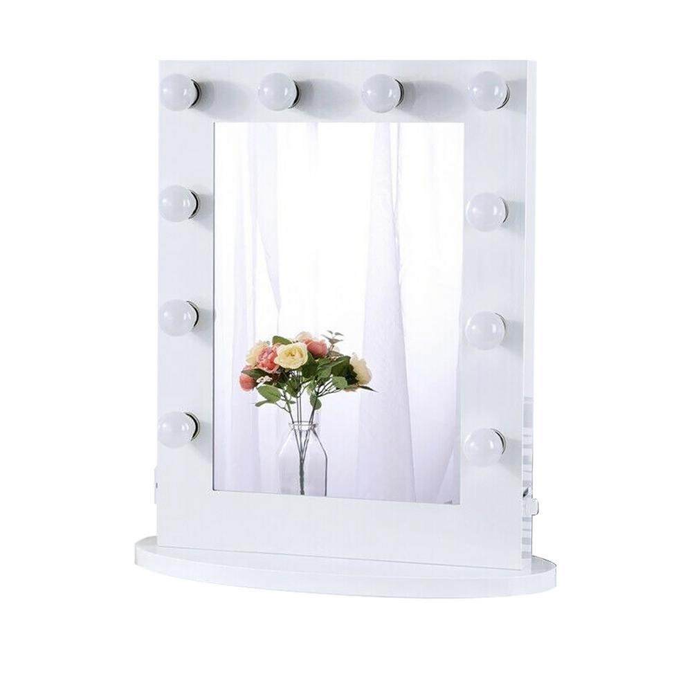 Boyel Living 22 In W X 26 In H Framed Rectangular Led Light Bathroom Vanity Mirror In White Xd 6550 White The Home Depot