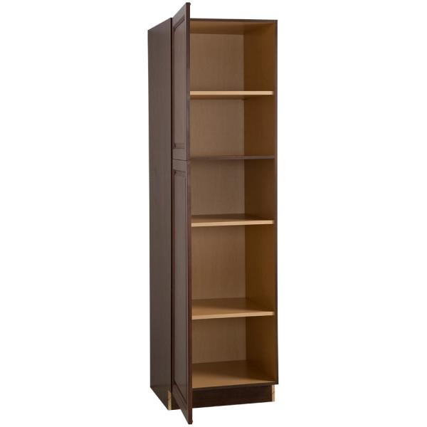 Hampton Bay Benton Assembled 24 In X 84 In X 24 6 In Pantry Cabinet With Adjustable Shelves In Amber Bt2484p Rc The Home Depot