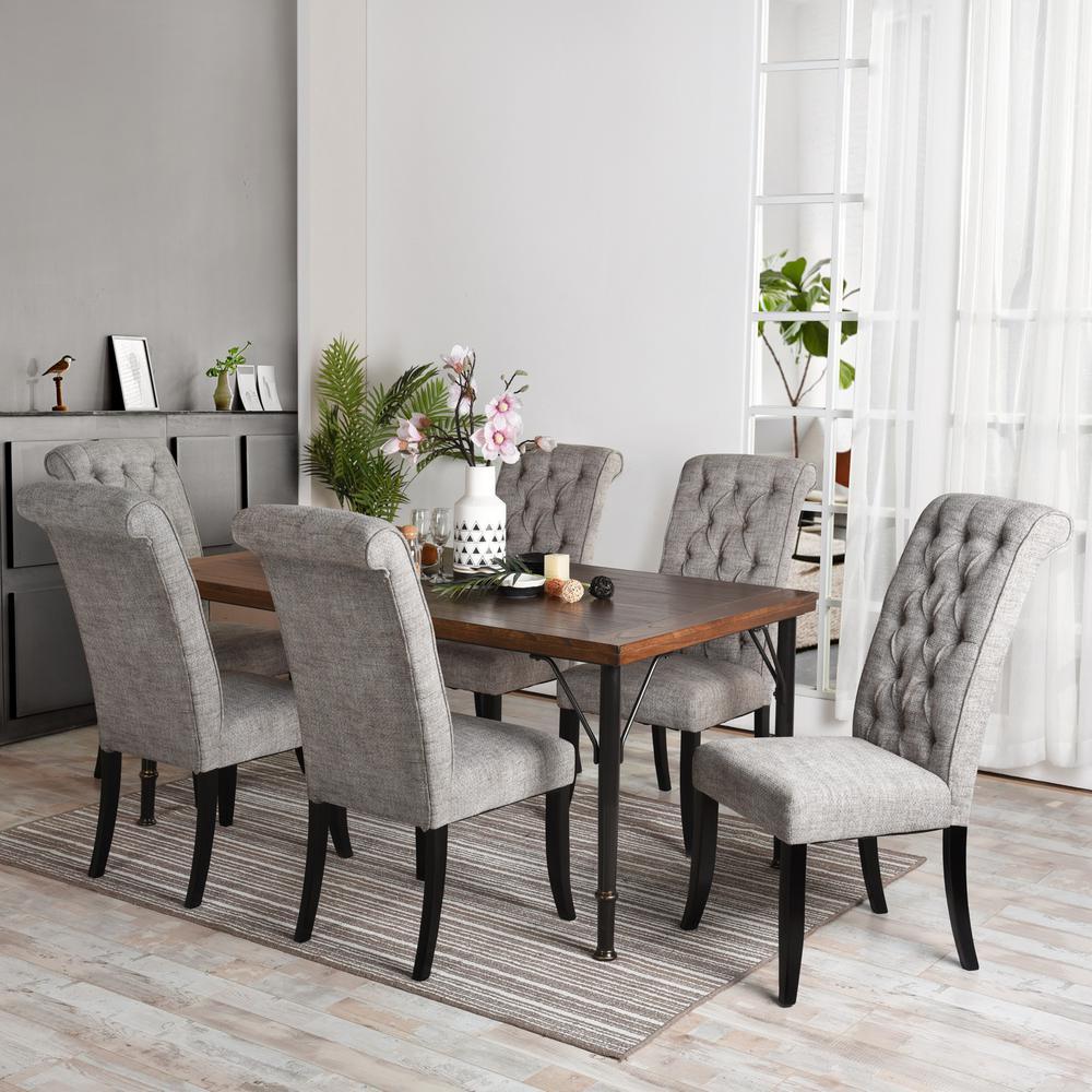 Furniturer Dark Grey Dining Chair Set Upholstered High Back Mdf Wood Set Of 2 Wilona Dark Grey The Home Depot