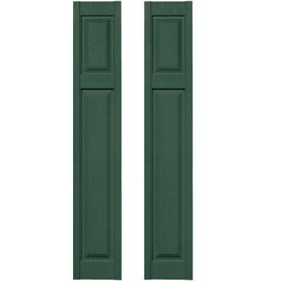 12 in. x 67 in. Cottage Style Raised Panel Vinyl Exterior Shutters Pair in #028 Forest Green