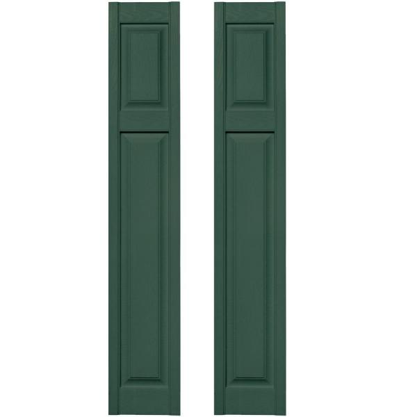 Builders Edge 12 In X 67 In Cottage Style Raised Panel Vinyl Exterior Shutters Pair In 028 Forest Green 030120167028 The Home Depot