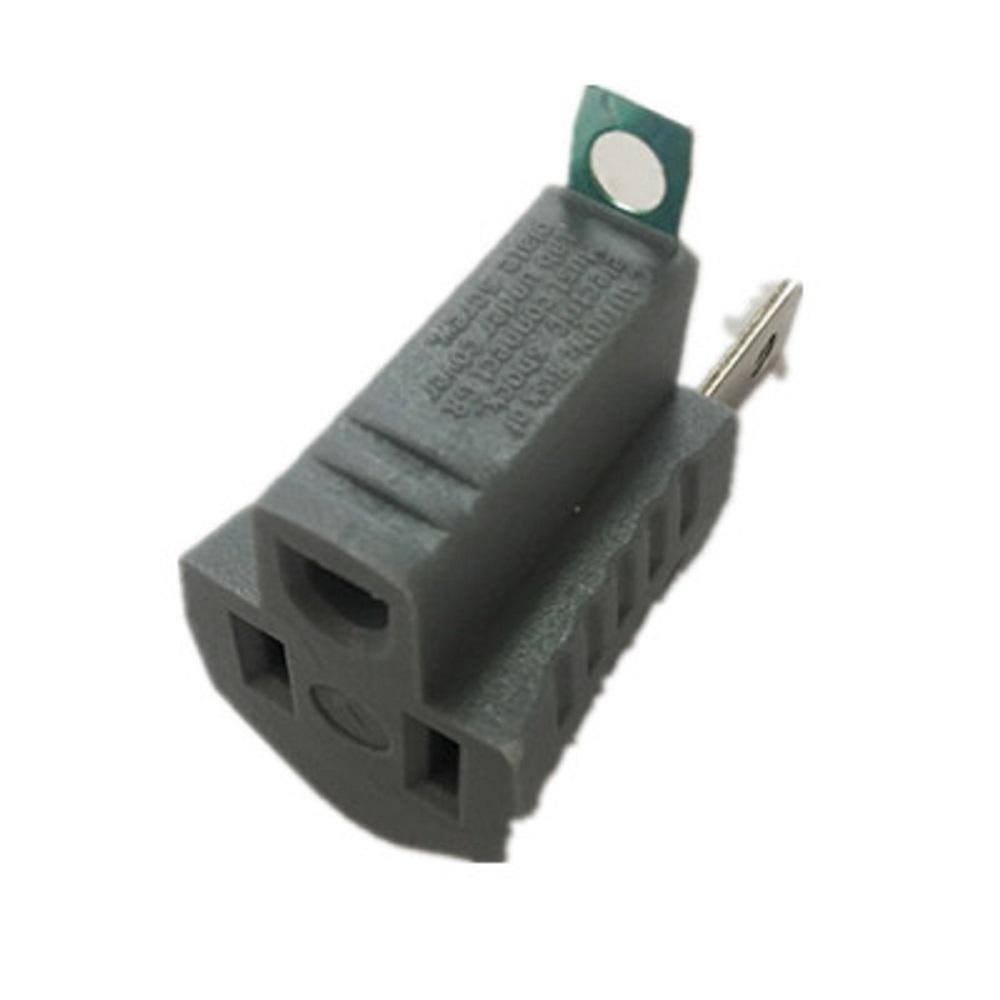Commercial Electric 15 Amp Single Outlet Grounding Adapter, Gray