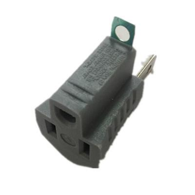 15 Amp Single Outlet Grounding Adapter, Gray
