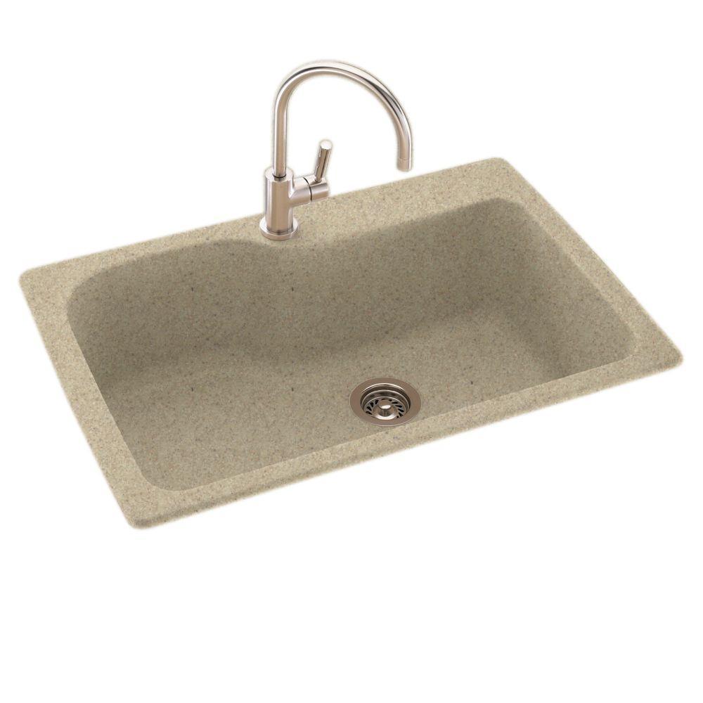 Drop-In/Undermount Composite 33 in. 1-Hole Single Bowl Kitchen Sink in Praire