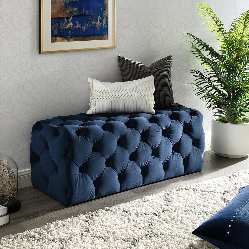 Norman Navy Velvet Tufted Allover Upholstered Bench