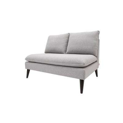 Vera Upholstered Cushioned Settee, Light Grey Yarn Dyed