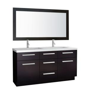 Moscony 60 in. W x 22 in. D Double Vanity Espresso with Composite Stone Vanity Top and Mirror in Quartz